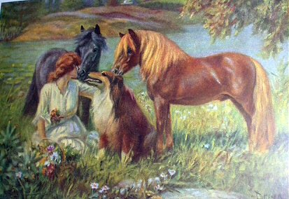 SOLD**Reduced** Lady,Shetland Ponies,Collie,MINER-Stunning Framed Vintage Lithograph