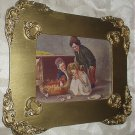 Sweet Newly Hatched Baby Chicks,Children Holding Them,Antique Gold Wood Frame