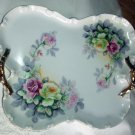 Butterfly Shaped Large Antique Porcelain Tray Cabbage Rose Design Double Handled, Bourdois and Bloch
