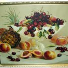 1900s Bowl Red Cherries Peaches Pineapples Antique Still Life Chromolithograph Framed Vibrant