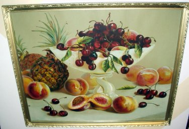 1900s Bowl Red Cherries Peaches Pineapples Antique Still Life Chromolithograph Framed Vibrant