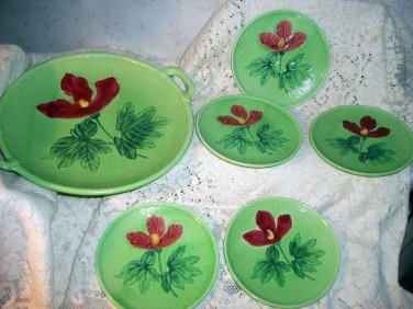 Majolica Potted 6 Pieces German Dessert Set Red Poppy Flowers on Green Basketweave Background