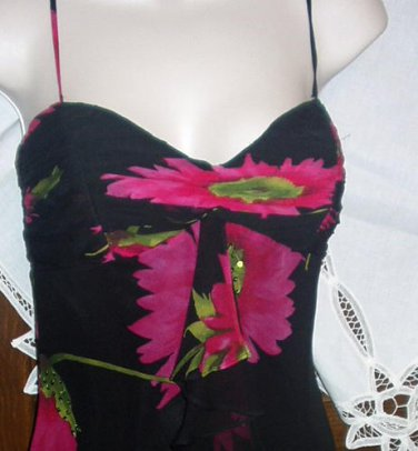 Beautiful Silk Dress XS / Size 2 Black & Fuschia Pink Flowers Spaghetti Strap Gown NWT Excellent