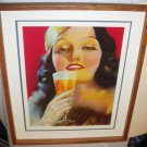 Stunning Flapper Art Deco PinUp Girl Nymph Drinking Spirits Signed Winsboro Art Deco Style Frame