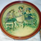 Die Cut Antique Children Victorian Edwardian Dancing Playing Music Round Framed Picture