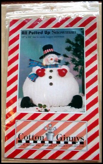 NEW IN PKG COTTON GINNYS ALL PUFFED UP SNOWMAN FUN HOLIDAY CRAFT KIT