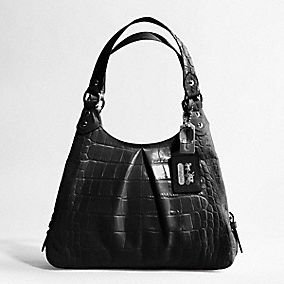 NWT COACH 14602 MADISON EMBOSSED MAGGIE EXOTIC BLACK