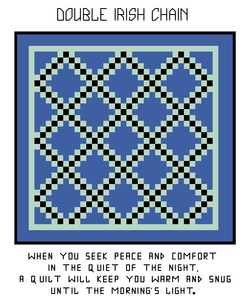 Irish Double Chain Quilt Pattern Free : Double Irish Chain Quilt Pattern Chart Graph