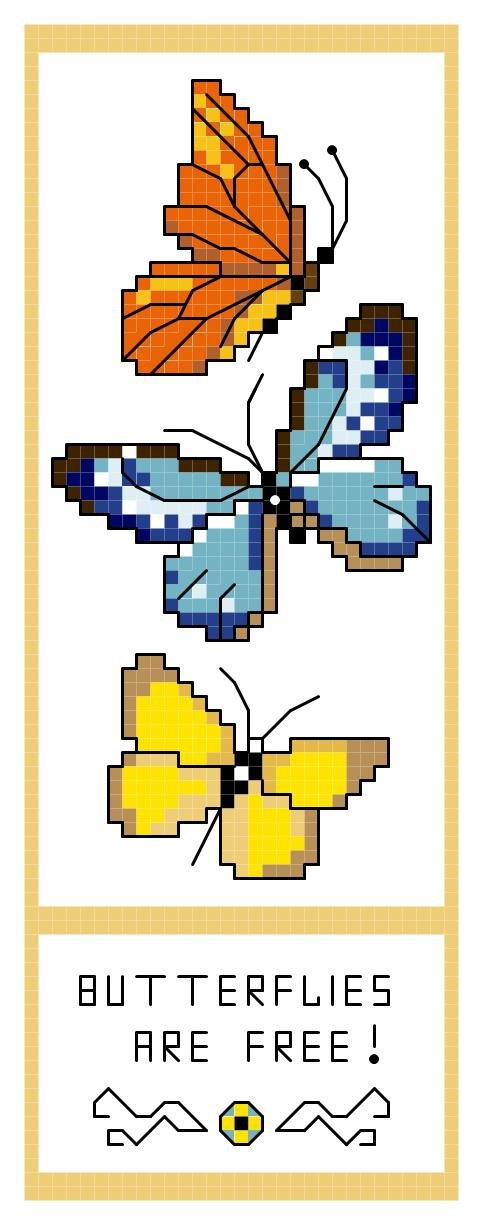 Butterflies Are Free! Bookmark Pattern Chart Graph