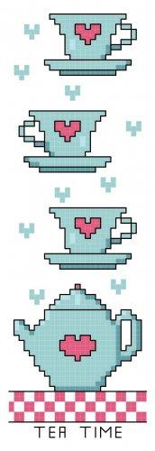 Tea Time Bookmark Pattern Chart Graph