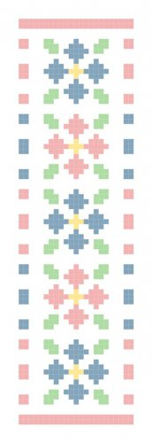 Floral Button Clusters Bookmark Pattern Chart Graph