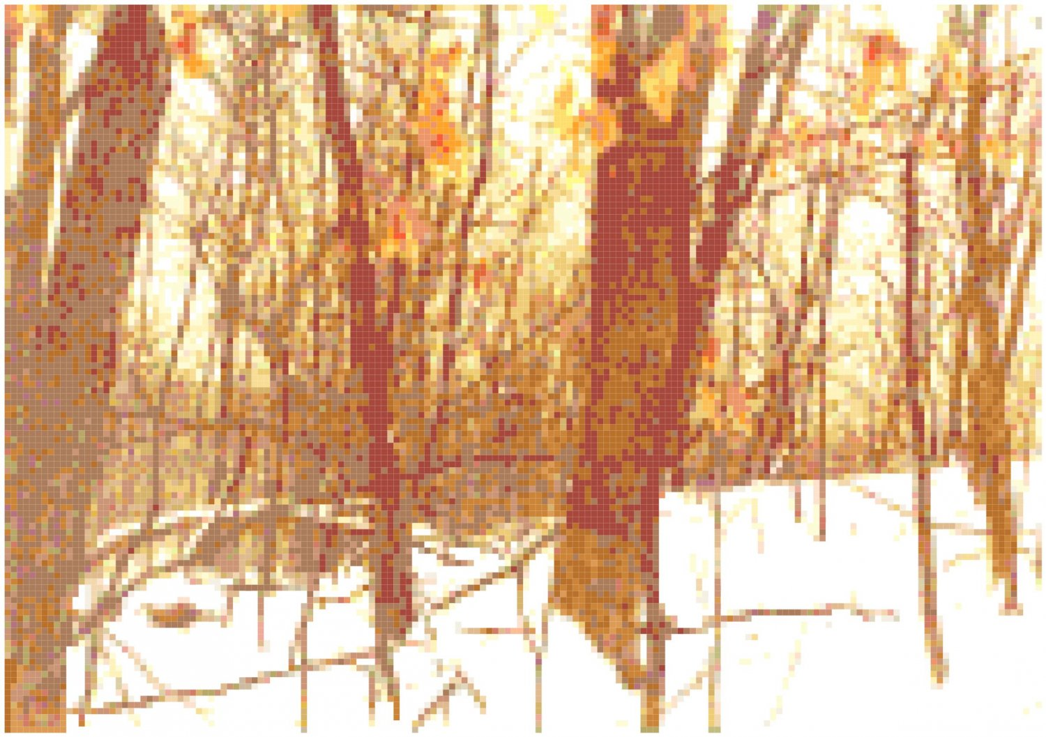 Snowy Woods at Sunset Landscape Pattern Chart Graph