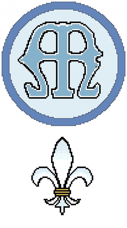 Marian Symbol and Fleur de Lis Pattern Chart Graph