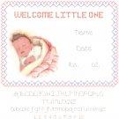 Baby Girl Birth Record Pattern Chart Graph