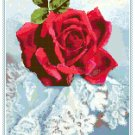 Red Rose on Lace Pattern Chart Graph