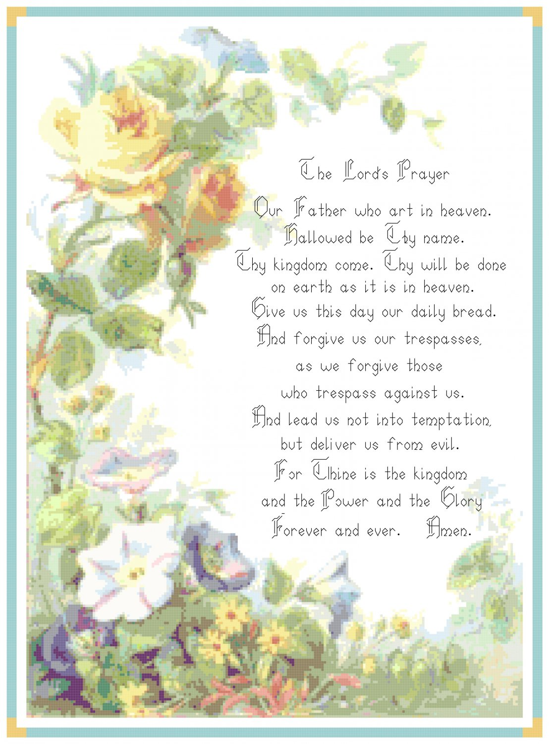 The Lord's Prayer Pattern Chart Graph