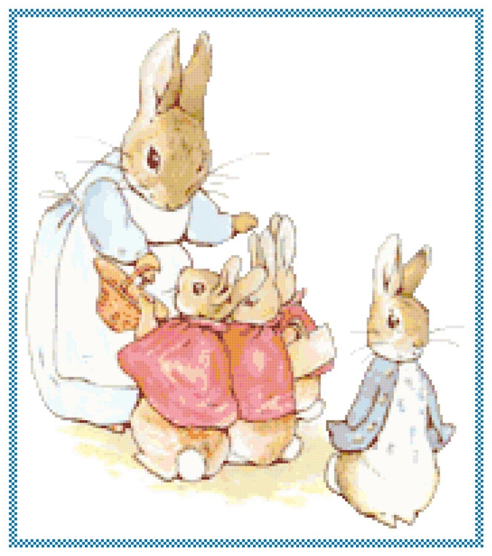 Peter Rabbit Family by Beatrix Potter Pattern Chart Graph