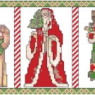 Five Old-Time Santas Pattern Chart Graph