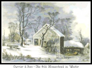 The Old Homestead in Winter  Pattern Graph Chart