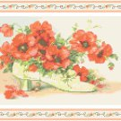 Poppies in a Victorian Shoe Pattern Chart Graph