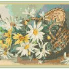Daisies in a Wicker Basket Pattern Chart Graph