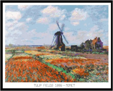 Tulip Fields 1886 by Monet Pattern Chart Graph