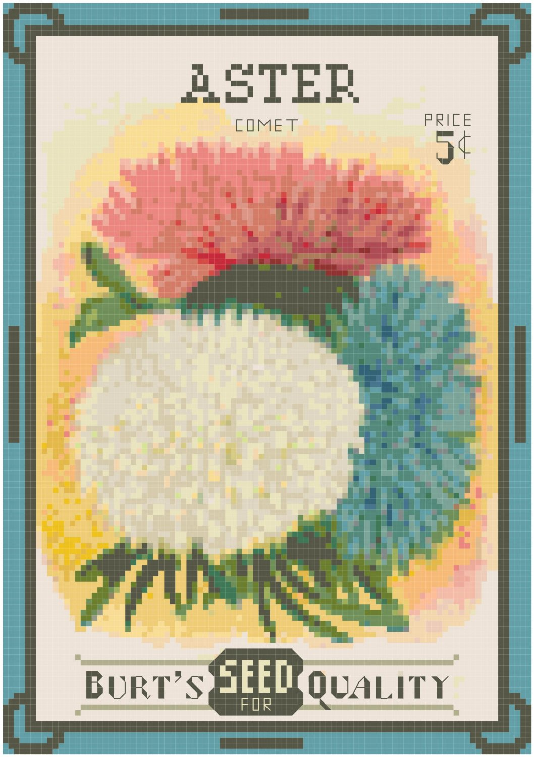 Antique Aster Flower Seed Packet Pattern Chart Graph