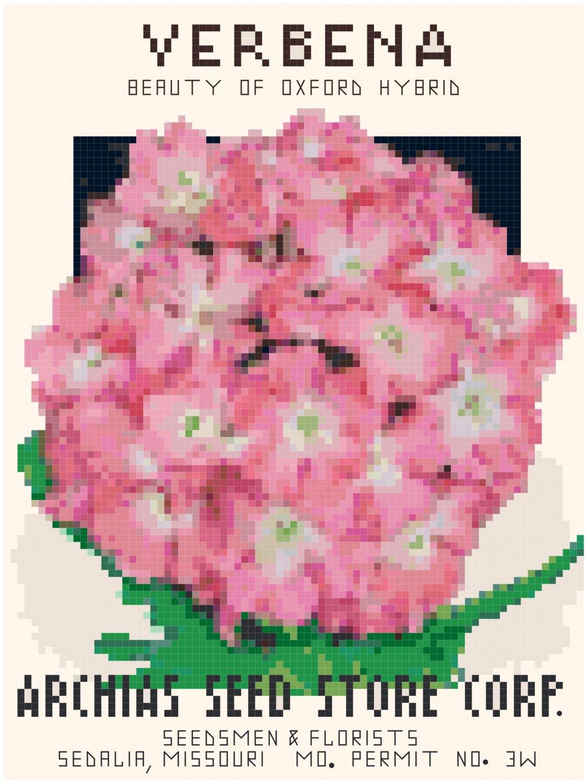 Antique Verbena Flower Seed Packet Pattern Chart Graph