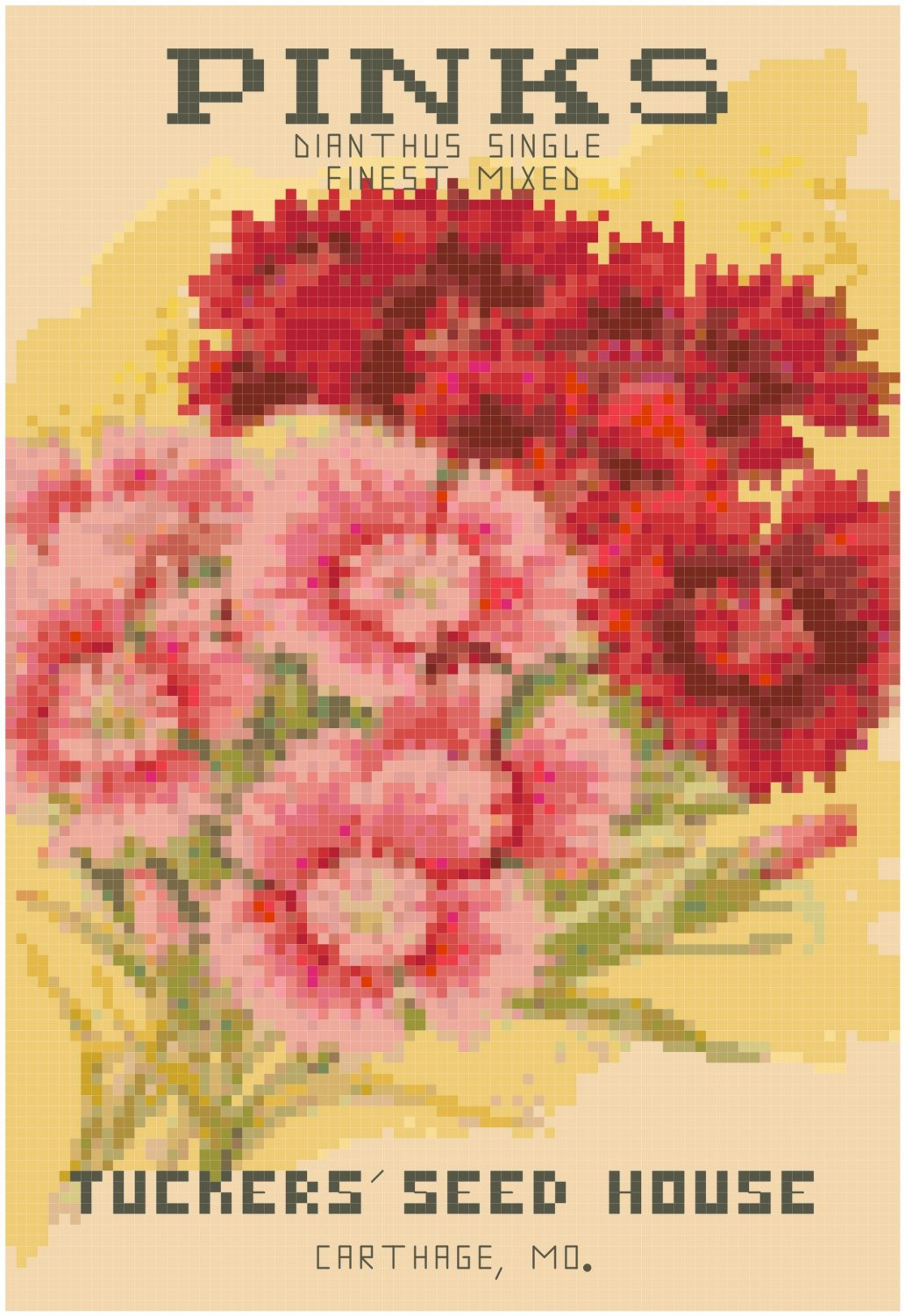 Antique Pinks Flower Seed Packet Pattern Chart Graph