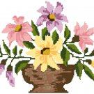 Painted Daisies in a Vase Cross Stitch Pattern Chart Graph