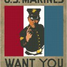 U.S. Marines Want You WWI Poster Pattern Chart Graph