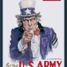 Uncle Sam Wants You WWII Poster Cross Stitch Pattern Chart Graph