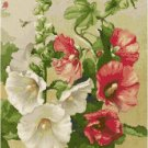 Crimson and White Hollyhocks Cross Stitch Pattern Chart Graph