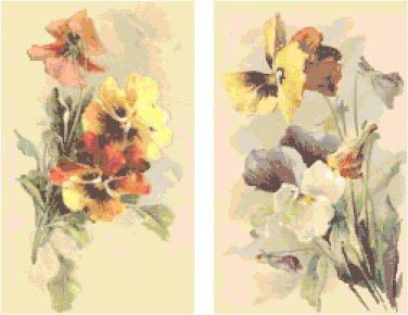 Pansies Set of 2 Cross Stitch Patterns Charts Graphs