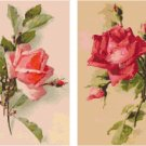 Pink Rose and Deep Rose Roses Cross Stitch Pattern Set of 2