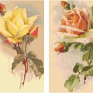 Yellow and Peach Roses Set of 2 Cross Stitch Pattern Graph Chart