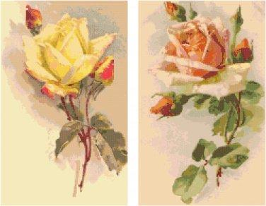 Yellow and Peach Roses Set of 2 Cross Stitch Pattern Graph Chart