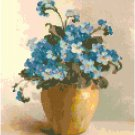 Forget-Me-Nots in a Pottery Bowl Cross Stitch Pattern Chart Graph