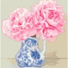 Blush Pink Peonies Cross Stitch Pattern Chart Graph