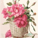 Roses in a Wicker Basket Cross Stitch Pattern Chart Graph