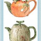 Fruity Teapots 2 Cross Stitch Pattern Chart Graph