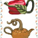 Veggie Teapots Cross Stitch Pattern Chart Graph