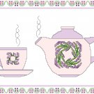 Circlet of Lavender Teapot and Cup Pattern Chart Graph