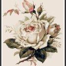 Beautiful White Roses Cross Stitch Pattern Chart Graph