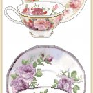 Roses, Roses, Teacups Cross Stitch Pattern Chart Graph