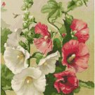 Old Fashioned Hollyhocks Cross Stitch Pattern Chart Graph