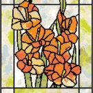 Gladiolus in Stained Glass Cross Stitch Pattern Chart Graph