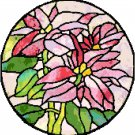 Poinsettias in Stained Glass Cross Stitch Pattern Chart Graph