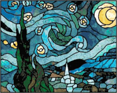 Van Gogh's Starry Night in Stained Glass Cross Stitch Pattern Chart Graph