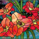 Daylilies in Stained Glass Cross Stitch Pattern Chart Graph